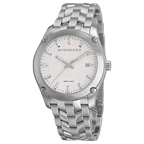 Burberry Heritage LUXURY Mens Unisex Womens Stainless Steel Watch Check Stamped Date Dial BU1852