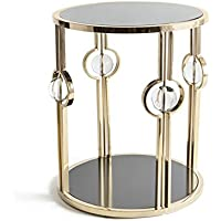 Halt Decor Pryce 23.5 Inch Stainless Steel & Brass Decorative Side Table | 20881