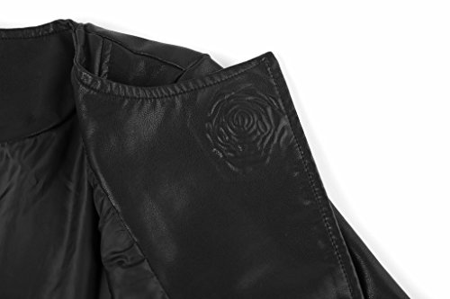 The Twins Dream Girls Faux Leather Coat Toddler Jacket for Kids Dress Coat with Emboss Rose 3-12y by The Twins Dream (Image #5)