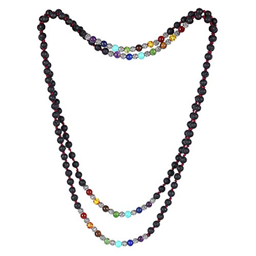 (CAT EYE JEWELS Endless Infinity Necklace 6MM 48 Inch Lava Rock 7 Chakra Stone Beaded Long Strand Necklace)