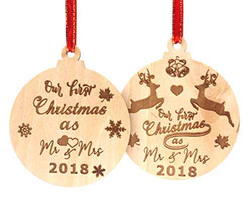 WAVEJOEY Our First Christmas as Mr & Mrs 2018 Xmas Wooden Reindeer Ornament Gift for Newlyweds Holiday Decoration 2 Style ()