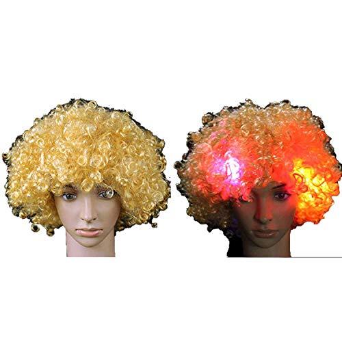 Surprisedresshatglasses-Halloween hat Head LED Light up Flashing Curly Hair Wig Fans Hats Headwear Glow Birthday Party Decoration -