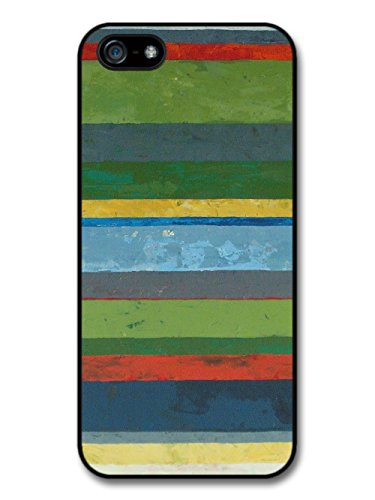 Green Blue Red Horizontal Painted Stripes Cool Hipster Style Pattern coque pour iPhone 5 5S