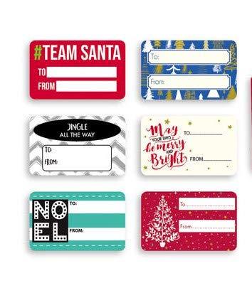 con etichette adesive per regali Confezione da 12 sacchetti regalo di carta con Babbo Natale e Rudolph