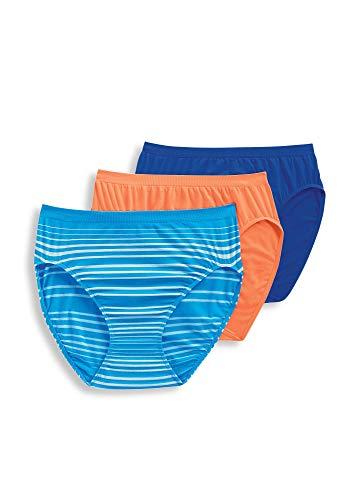 Jockey Women's Underwear Comfies Microfiber French Cut - 3 Pack, Coral Oasis/Calypso Blue/Wild Blue Milano Stripe, ()
