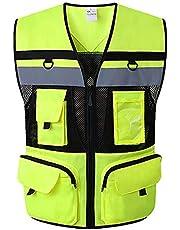 WUIO Chaleco de alta visibilidad, chaleco reflectante, chaleco ejecutivo de alta visibilidad, para construcción de tráfico nocturno al aire libre Administración de carreteras Advertencia de seguridad,