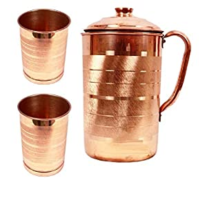 FEDUS Copper Jug with 2 Glass (2000Ml of Jug, 400ML of Each Glass)