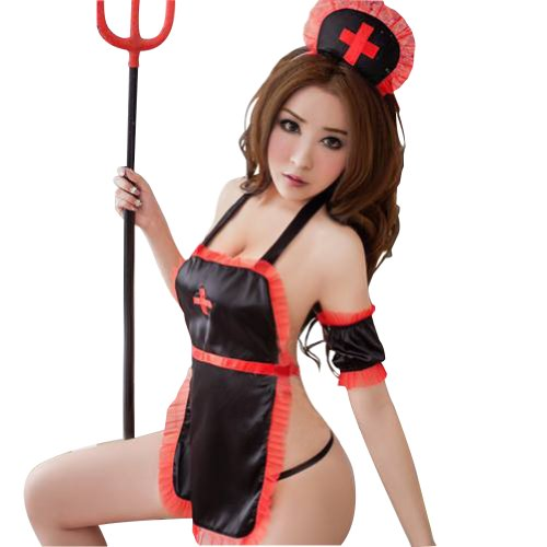 Japanese Themed Costumes (Lingeriecats Sexy Demon Nurse 5Pcs Costume)