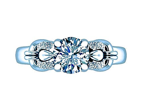 - GIA Certified Round Diamond Engagement Ring Floral Custom 0.95 Tcw Buckle Infinity Shank F-G/SI 14K White Gold Designer Fine Jewelry