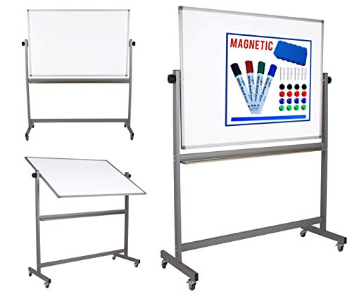 Magnetic Mobile White Board Dry Erase Board Double Sided Whiteboard Rolling Wheels 4 Markers Eraser Magnets Ruler Large Writing Standing Easel Stand Easy Adjustable Flip Portable Display 36 x 48 inch