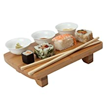 Dexam Bamboo Sushi Serving Kit Set, including Bowls, Table & Chopsticks 17851013