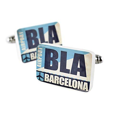 NEONBLOND Cufflinks Airportcode BLA Barcelona Porcelain Ceramic