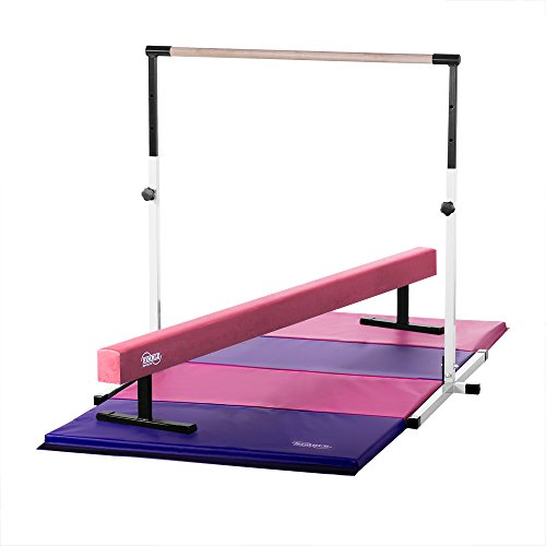 Little Gym - Adjustable White Horizontal Bar, 12in High Pink Balance Beam, 8ft Pink/Purple Gymnastics Mat