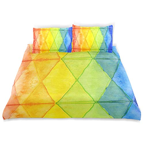 - OSBLI Bedding Duvet Cover Set 3 Pieces Watercolor Abstract Shapes Bed Sheets Sets and 2 Pillowcase for Teens