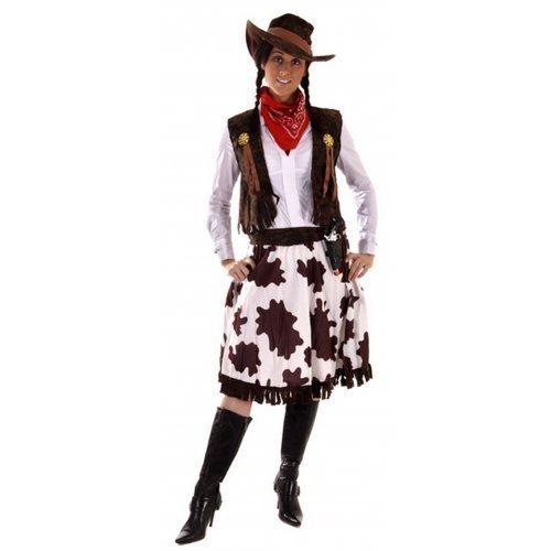 5 Piece Ladies Wild West Jessie Cowgirl Cowboy Sheriff Fancy Dress Costume Outfit STD & Plus Size (STD (UK 10-14)) -
