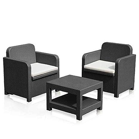 shopdesign Conjunto de 2 sillones en Ratán sintético ...