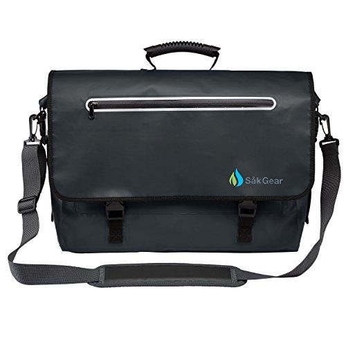 BriefSak Waterproof Briefcase / Messenger Bag, 500D PVC, Size Reg, Fits Laptops up to 15' (Black)