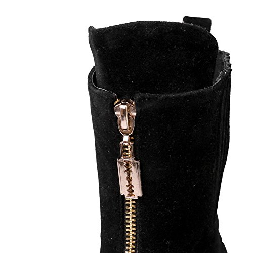 AllhqFashion Womens Kitten-Heels Frosted Low-Top Solid Zipper Boots, Black, 41