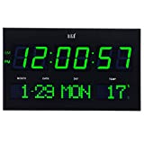 "Cheap hito 14.2"" Large Oversized LED Wall Clock Seconds Date Day Indoor Temperature Adjustable Brightness Memory Function Adapter Included Decorative for Living Room Office Conference Room Bedroom (Green)"