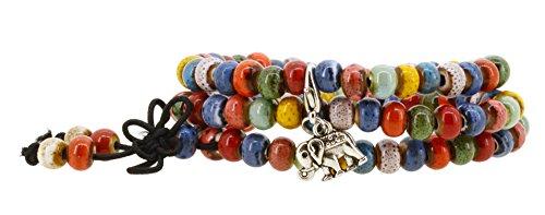 [Women Men Multi Color Porcelain Elastic Tibetan Buddhist 108 Worry Prayer Beads Mala Bracelet Necklace] (Indian Beaded Bracelet)