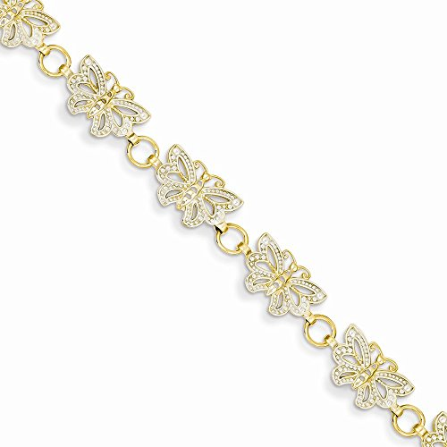 14k & Rhodium Butterfly Bracelet, Best Quality Free Gift Box by viStar