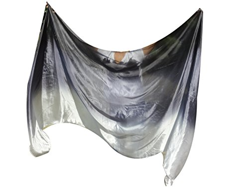 Rolled Edge Veil - Winged Sirenny Belly Dance Silk Veil, Light 5 Mommes Real Silk, 2.7m x 1.1m (3'x43
