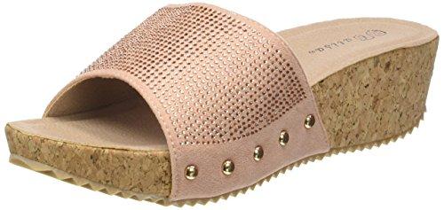 Angkorly - damen Schuhe Mule Sandalen - Plateauschuhe - Strass - Nieten - besetzt - Kork Keilabsatz high heel 5 CM - Rosa