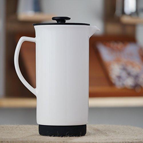 Ceramic French Press Coffee Press + Bonus Wooden Spoon (White, 32 oz)