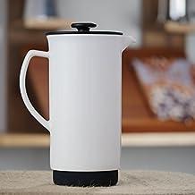 Forlife Ceramic French Press Coffee Maker + Bonus Wooden Spoon (White, 32 oz)