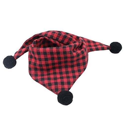Stock Show Pet Plaid Bandana Dog Cute Classic Cotton Triangle Reversible Bib with 3 Black Pompom Balls Decor Pet Scarf…