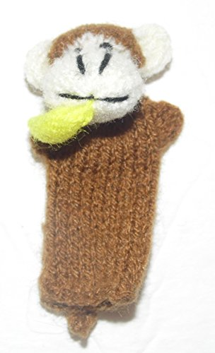 Beige Monkey with Banana Finger Puppet From Peru Handmade Alpaca Wool