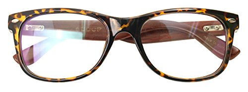 Real Bamboo Wood Temples Eyeglasses Frames Men Women Retro Spectacle Wooden Arm Foot Eyewear (LEOPARD - Nerd Real Glasses
