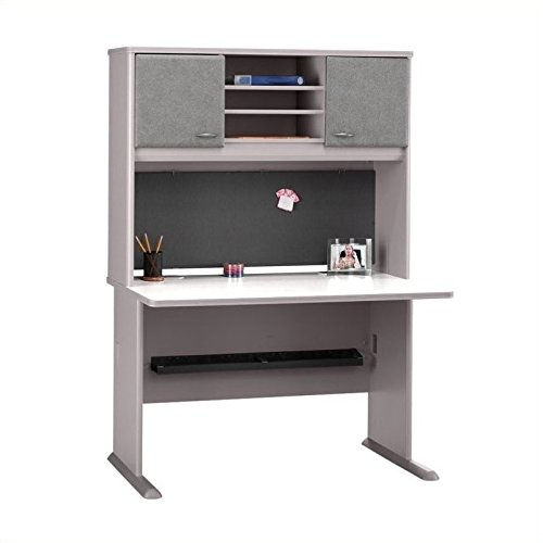 Bush Furniture Advantage Series 48'' Credenza with Hutch in White Spectrum and Pewter by Bbf