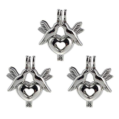 HENGSHENG 10 PCS Peace Bird Mini Pearl Cages Locket Pendants Love Birds Charm Jewelry Accessories(Do Not Include Any Pearls)