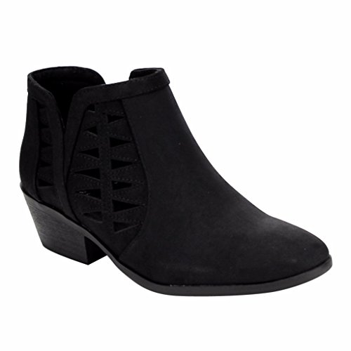 Marco Republic Oslo Womens Perforated Cut Out Side Medium Low Stacked Block Heel Ankle Booties Boots - (Black NBPU) - 6.5 - Vegan Boots Women Black