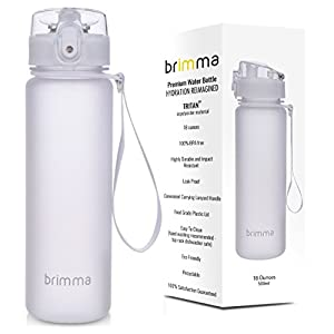 Brimma Sports Water Bottle with Leak Proof Flip Top Lid, 18 oz