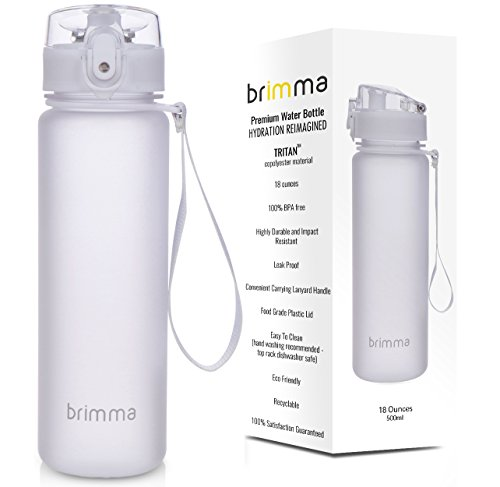 Brimma Premium Sports Water Bottle With Leak Proof Flip Top Lid - Eco Friendly & BPA Free Tritan Plastic - Must Have For The Gym, Yoga, Running, Outdoors, Cycling, and Camping - By