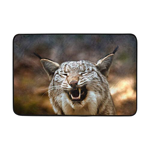 Carpet Lynx Predator Grin Doormat Indoor Outdoor EntranceFloor Mat Bathroom 23.6 X 15.7 Inch ()