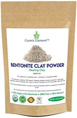 Cosmic Element Bentonite Clay Powder 100% Pure & Unrefined 4 Ounce Premium Food Grade Calcium Bentonite Clay - Heavy Metal Detox and Cleanse