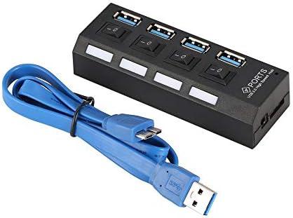 Hub de 4 puertos USB 3.0 de alta velocidad alimentado con adaptador e interruptores independientes Luz indicadora LED para Game Pc Smart TV: Amazon.es: Electrónica