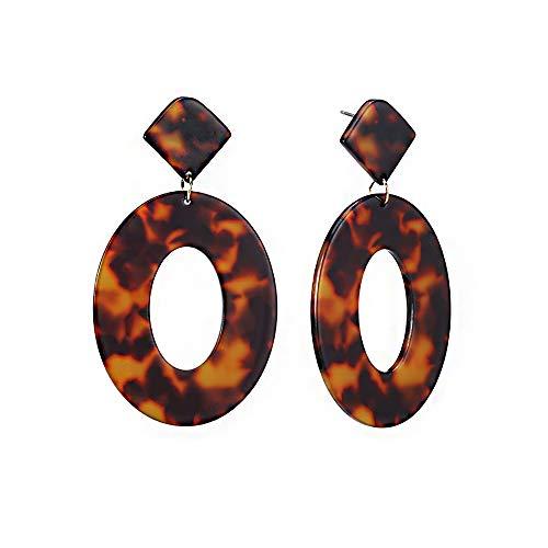 (Acrylic Oval Tortoise Earrings-Boho Acetate Leopard print Dangle Drop Earrings for Women Girls)
