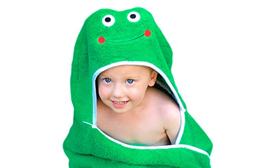 Ultra-Homes Frog Hooded Kid Towel (Green) - 27.5 x 49 - Boys Plush and Absorbent Luxury Bath Towels - 600 GSM - 100% Cotton, Beach, Pool Towel! 600 GSM, 100% Cotton for Boys and Girls
