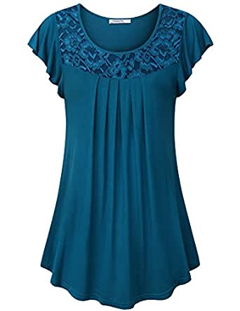 Youtalia Blouses for Women Fashion 2018, Ladies Summer Short Sleeve Lace Patchwork Soft Knit Plus Size Tunics and Tops,Dark Cyan Medium
