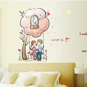 ملصقات الحائط القابلة للإزالة DIY لغرفة الأطفال ديكور المنزل - عشاق التأرجح