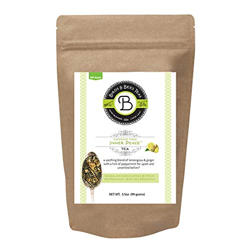 Birds & Bees Teas - Pregnancy Nausea Relief and Morning Sickness Relief, Inner Peace is a Safe Pregnancy Tea Organic Loose Leaf Blend That Soothes and Calms Upset Stomachs, 40 Servings, 3.2 oz