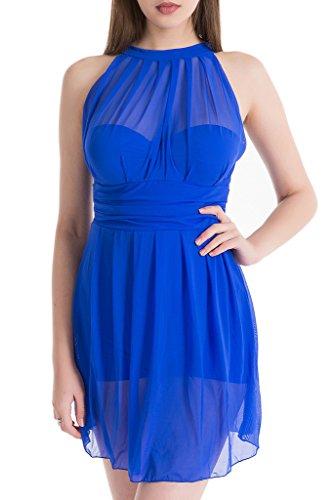 Women's Elegant Mesh Fabric One-Piece Swimsuit High Waist Skirt Folds Swimdress Sapphire Blue L(US0-2) (Rsd One Piece)
