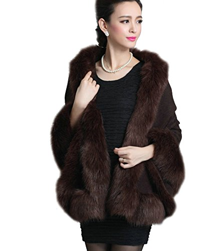 Elfjoy Luxury Bridal Faux Fur Cashmere Wool Shawl Cloak Cape Wedding Dress Party Coat for Winter - Coat Fur Fox Brown