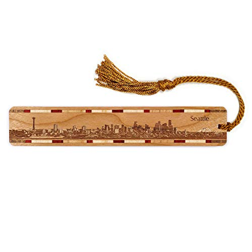 Seattle Washington Skyline Engraved Wooden Bookmark with Tassel - Also Available Personalized
