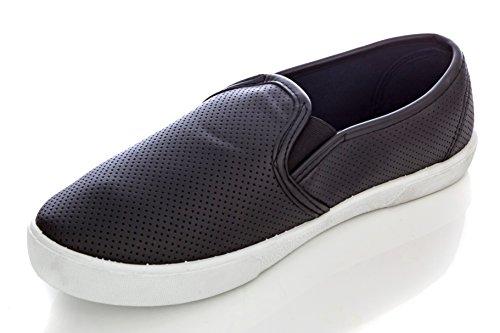 Charles Albert Femmes Confortable Perforé Slip-on Sneaker Noir