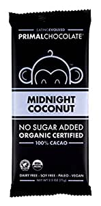 Eating Evolved - Organic Primal Chocolate, Midnight Coconut, 100% Cacao, 2.3 oz Bar (8 count)